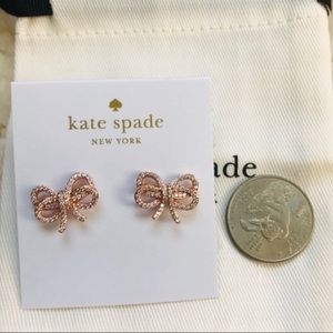 NWT Kate Spade Bow rose gold stud earrings